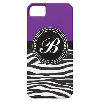 Purple and Black Zebra Print Monogram iPhone Case