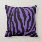 Purple and Black Zebra Print Striped Cotton Pillow