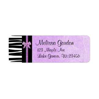 Purple and Black Zebra Striped Bow  Return Address
