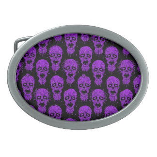 Purple and Black Zombie Apocalypse Pattern Oval Belt Buckles