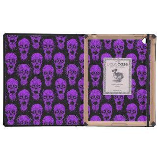 Purple and Black Zombie Apocalypse Pattern iPad Folio Cases