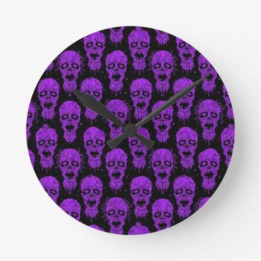 Purple and Black Zombie Apocalypse Pattern Clock