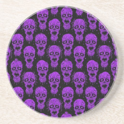 Purple and Black Zombie Apocalypse Pattern Drink Coaster