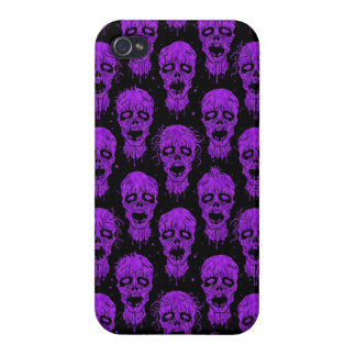 Purple and Black Zombie Apocalypse Pattern iPhone 4 Cases