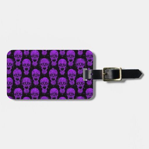 Purple and Black Zombie Apocalypse Pattern Travel Bag Tags