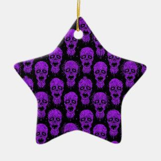 Purple and Black Zombie Apocalypse Pattern Christmas Ornament