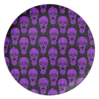 Purple and Black Zombie Apocalypse Pattern Plates