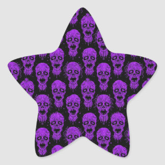 Purple and Black Zombie Apocalypse Pattern Star Stickers