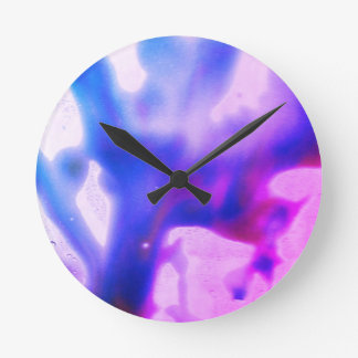 Purple and Blue Abstract Round Clock