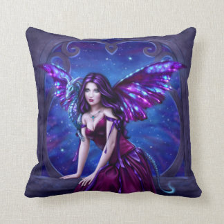 Purple and Blue Andromeda Dragon Art Throw Pillow