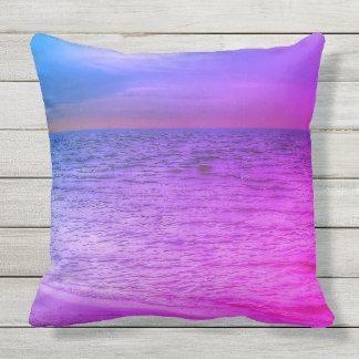 Purple and blue beach throw pillow