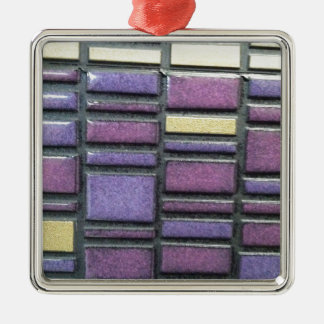 Purple and Blue Ceramic Tile Remix Metal Ornament