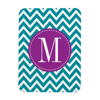 Purple and Blue Chevron Custom Monogram Rectangular Photo Magnet
