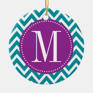 Purple and Blue Chevron Custom Monogram Round Ceramic Ornament