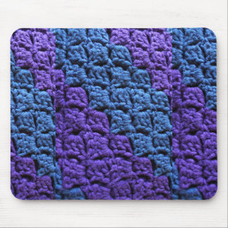 Purple and Blue Crochet Mouse Pad