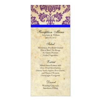 "Purple and Blue Damask Reception Menu 4"" X 9.25"" Invitation Card"