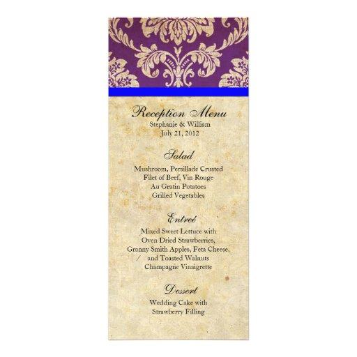 Purple and Blue Damask Reception Menu Announcement