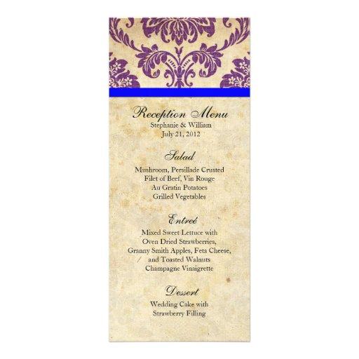 Purple and Blue Damask Reception Menu Custom Invitation
