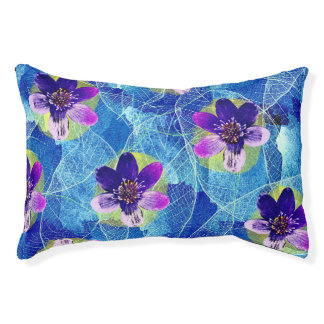 Purple and Blue Decorative Artsy Floral Pattern Pet Bed