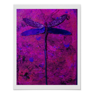 Purple and Blue Dragonfly Poster 11 x 14