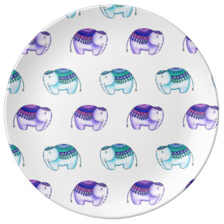 Purple and Blue Elephants Plate