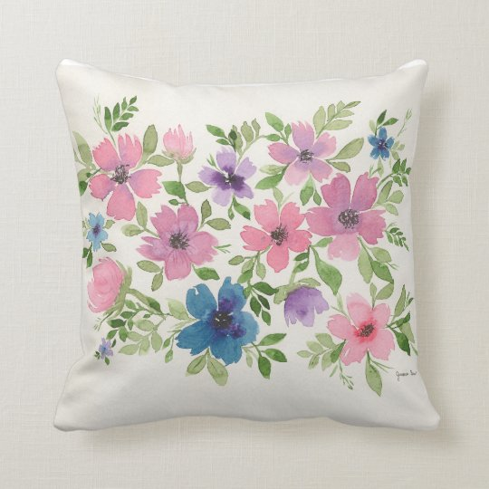 Purple and blue floral garden pillow