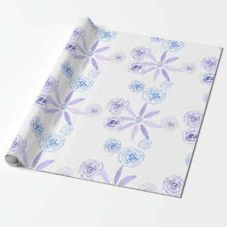 Purple and blue floral wrapping paper