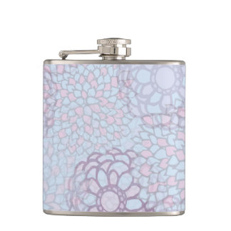 Purple and Blue Flower Burst Hip Flask