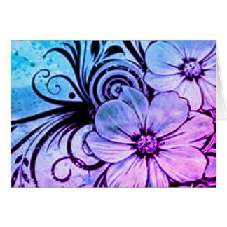 Purple and Blue Flowers Card