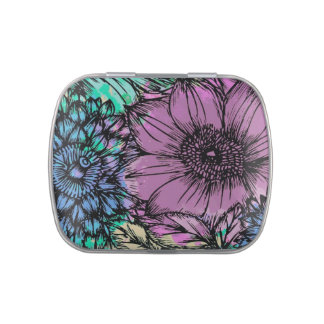 Purple and Blue Flowers Stash, Pill or Candy Box