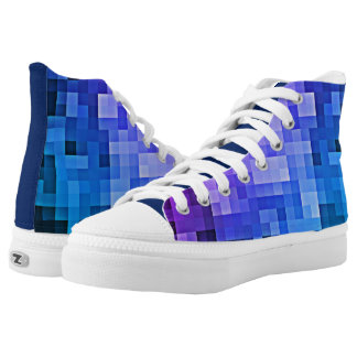 Purple and Blue Funky 8 bit Pixel Design Kicks High Tops