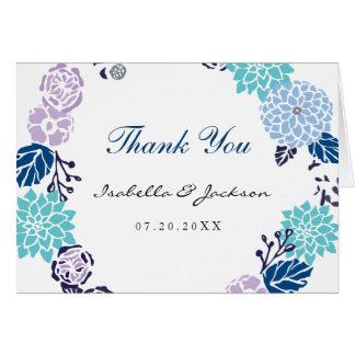 Purple and Blue Garden Wreath Wedding Card
