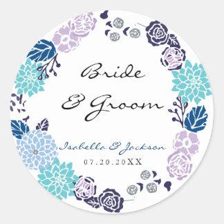 Purple and Blue Garden Wreath Wedding Classic Round Sticker