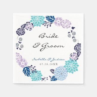 Purple and Blue Garden Wreath   Wedding Disposable Napkins