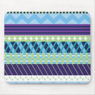 Purple and Blue Geometric Patterned Mouse Pad