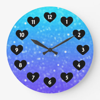 Purple And Blue Glimmer With Heart Wall Clock