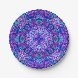 Purple And Blue Kaleidoscope Paper Plates