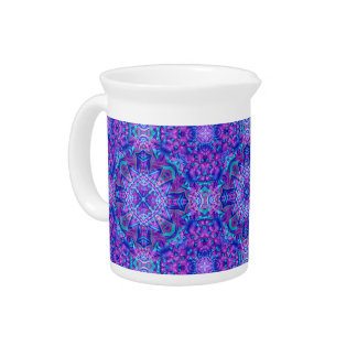 Purple And Blue Kaleidoscope  Porcelain Pitchers