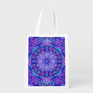 Purple And Blue Kaleidoscope Reusable Bag Reusable Grocery Bags