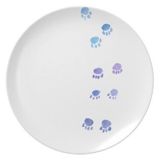 Purple and Blue Kitty Paw Prints Dinner Plates