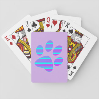 Purple and Blue Lined Paw Print Playing Cards