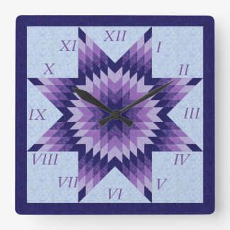 Purple and Blue Lone Star Quilt Design Square Wall Clock
