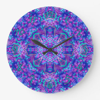 Purple And Blue Pattern    Clock, square or round Large Clock