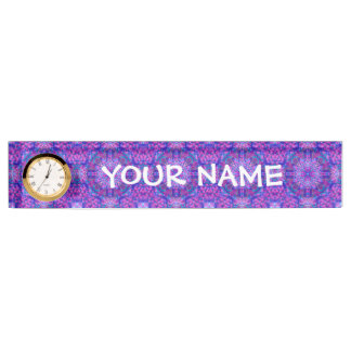 Purple And Blue Pattern  Desk Nameplate with Clock