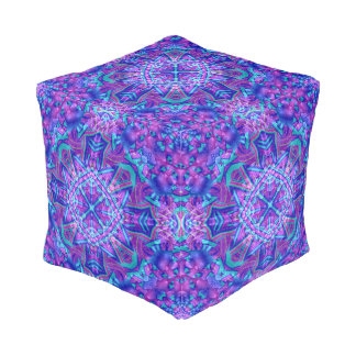 Purple And Blue Pattern Pouf Cube, 2 sizes