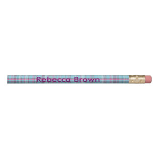Purple and Blue Plaid Personalize Pencil