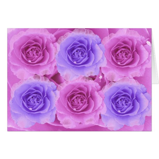 Purple and Blue Roses Card