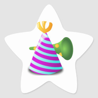 Purple and Blue Striped Party Hat and Green Horn Star Sticker