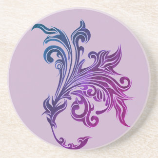 PURPLE AND BLUE TATTOO LILY SANDSTONE COASTER