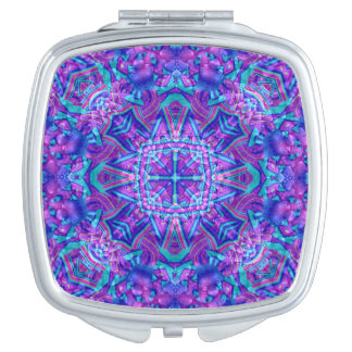Purple And Blue Vintage  Compact Mirror